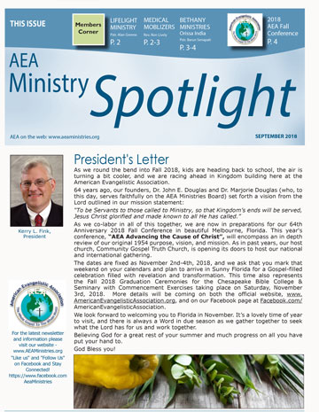 AEA Ministries Spotlight - Sept 2018
